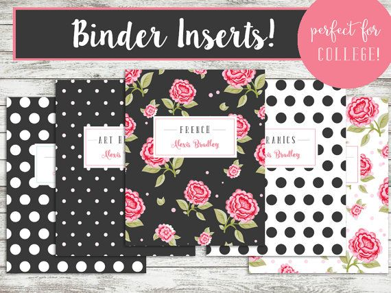 PRINTABLE Binder Covers - Set of 5 - Custom - College Subject
