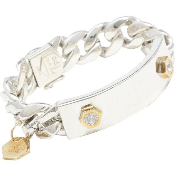 Ann Dexter-Jones Women's Sapphire ID Plate Bracelet (4,165 CAD) ❤ liked on Polyvore featuring jewelry, bracelets, pulseras, colorless, engravable charms, charm bangle, bezel jewelry, ann dexter jones jewelry and clear crystal jewelry