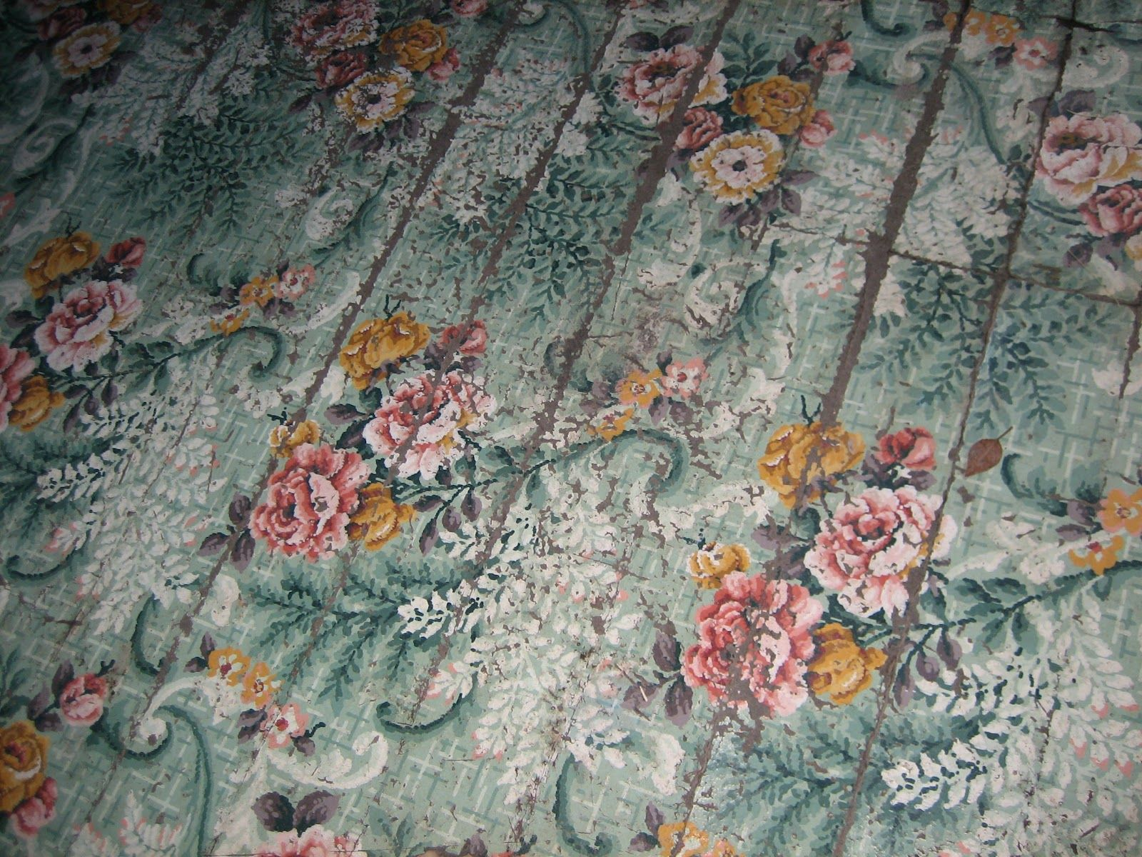 lawn tea: mammaw's pink house great vintage linoleum floor. pink