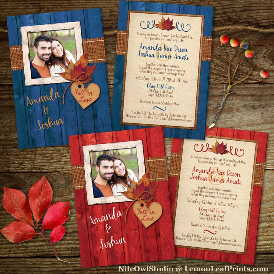 Photo Template Wedding Invitation |Fall in Love Autumn Leaves, Faux ...