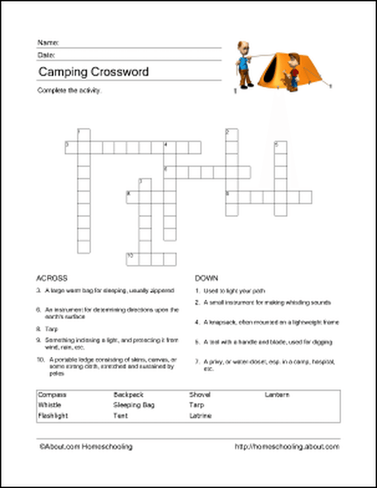Camping Wordsearch, Vocabulary, Crossword, and More