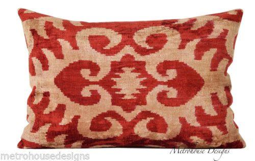 Hand Soft Vintage Silk Velvet Ikat Pillow eBay