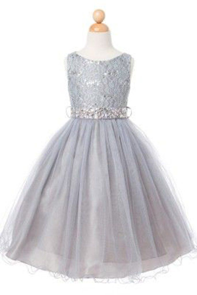 Princess gray tulle lace sequins sash A-line cute girls dress ...