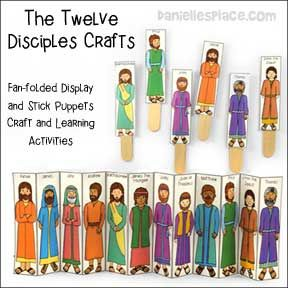 Jesus Twelve Disciples Stick Puppets And Fan Folded