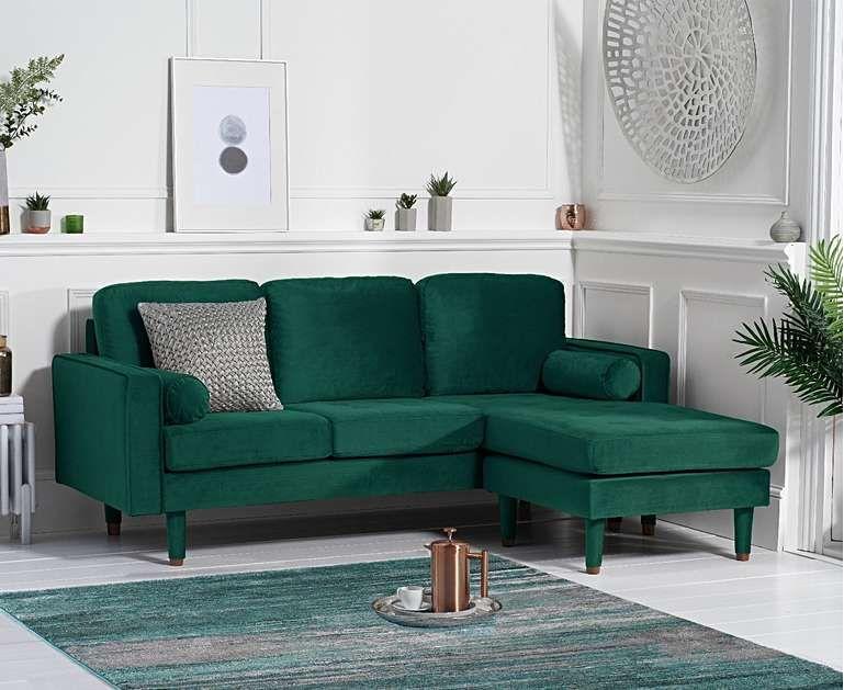 Luca Green Velvet 3 Seater Reversible Sofa Velvet Sofa Living Room Living Room Green Furniture