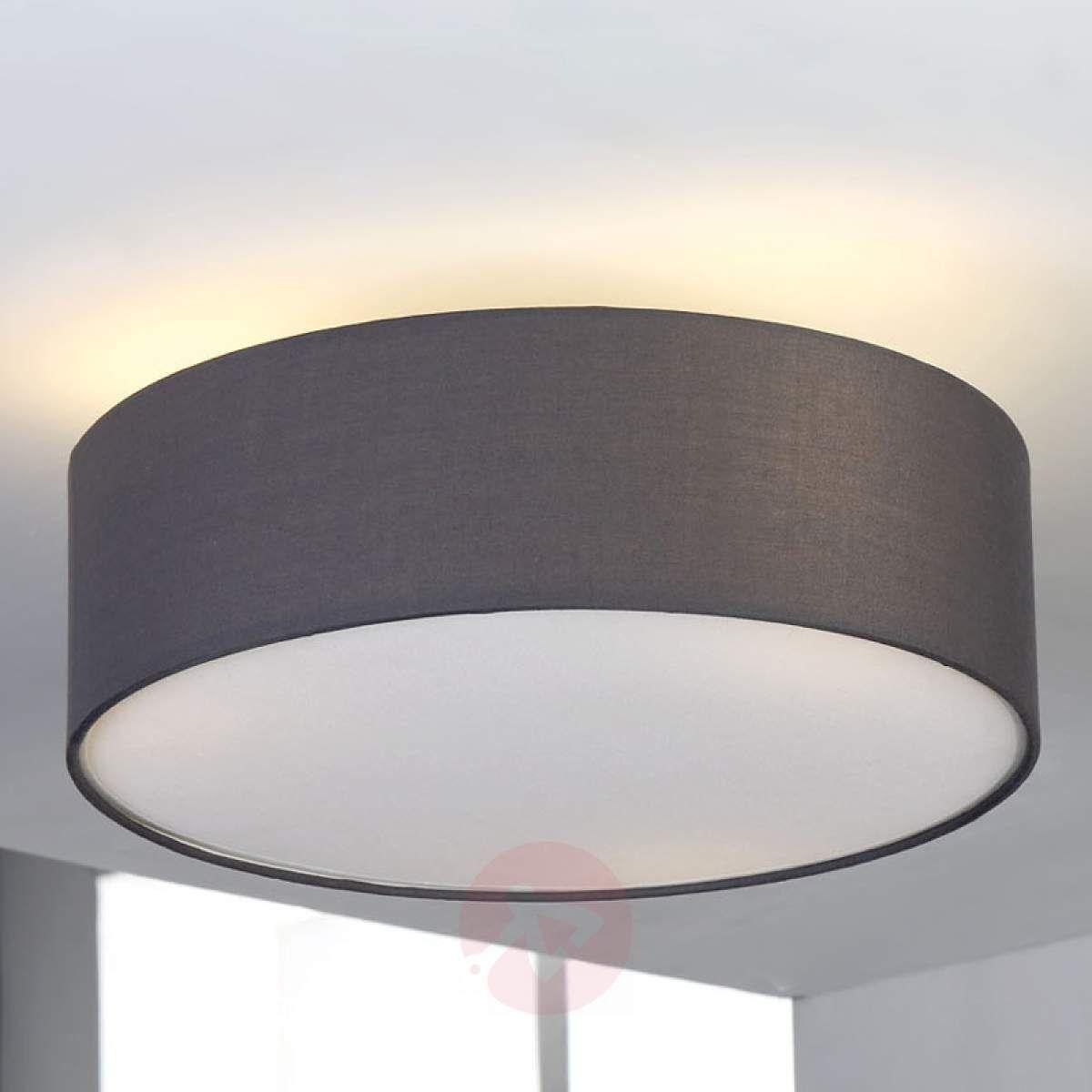 Jasnoszara Lampa Sufitowa Sebatin Z Materiału Lampy
