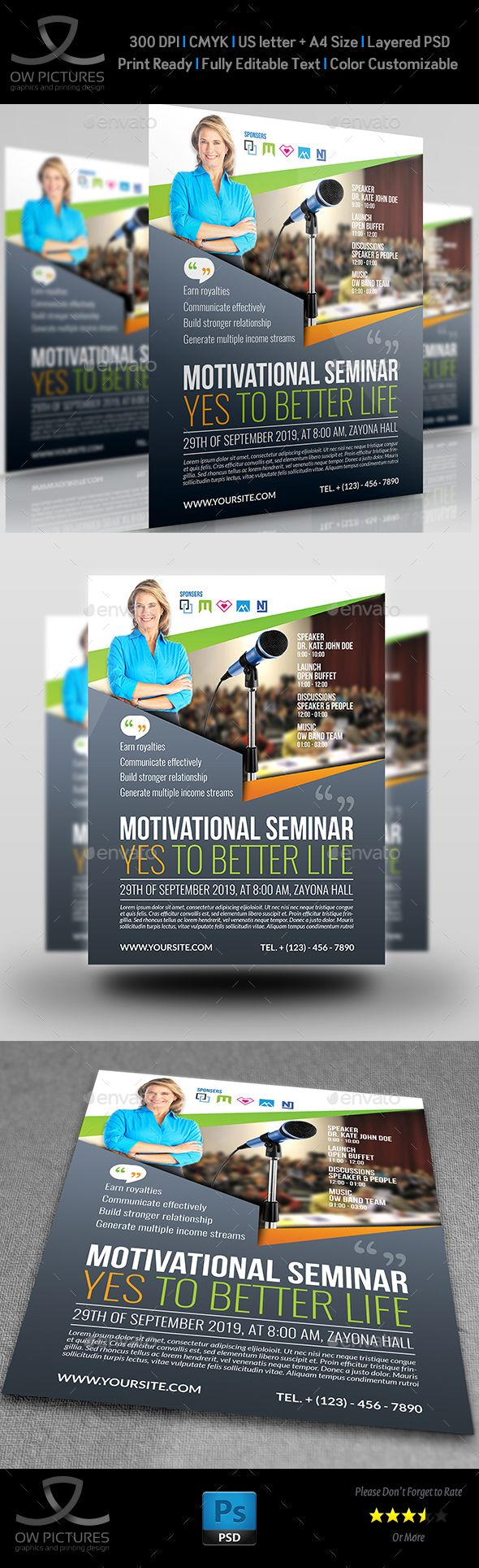 Seminar Flyer Templates  Flyer Template Template And Font Logo