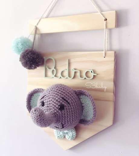 crochet elephant with baloons | Bonecas de crochê, Arte em croche ... | 518x460