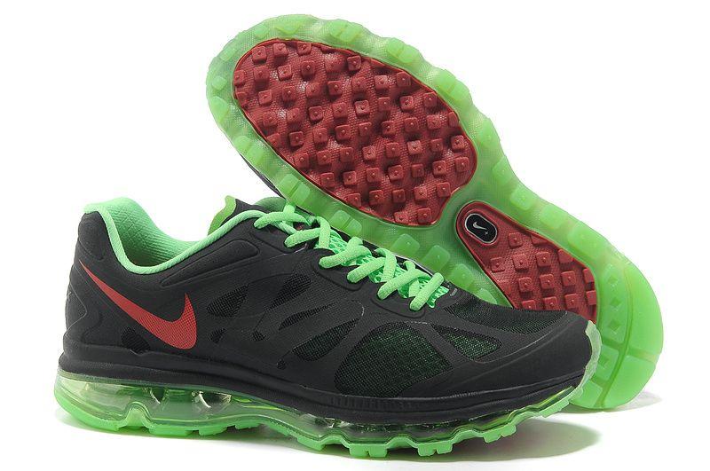new styles 4ef64 ed6e9 Black Electric Green White Bright Crimson Nike Air Max 2012 Men s Running  Shoes