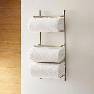 Brushed Steel Wall Mount Towel Rack + Reviews | Crate and Barrel