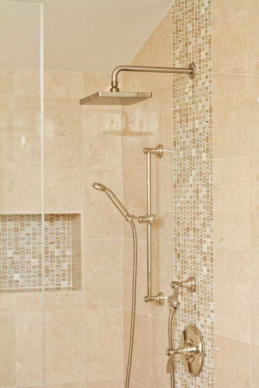 Contemporary Master Bathroom With Handheld Showerhead Rain Shower Vero 1 Handle 1 Spray Raincan Shower Faucet Trim Beige Bathroom Shower Tile Shower Remodel