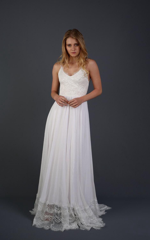 Bell sleeve chiffon lace weddig dress affordable wedding dresses