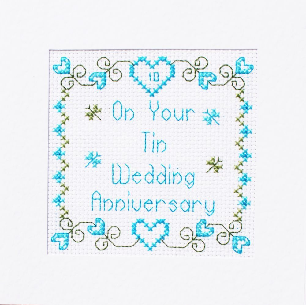 Diamond Wedding Hearts Cross Stitch Card Kit by Florashell