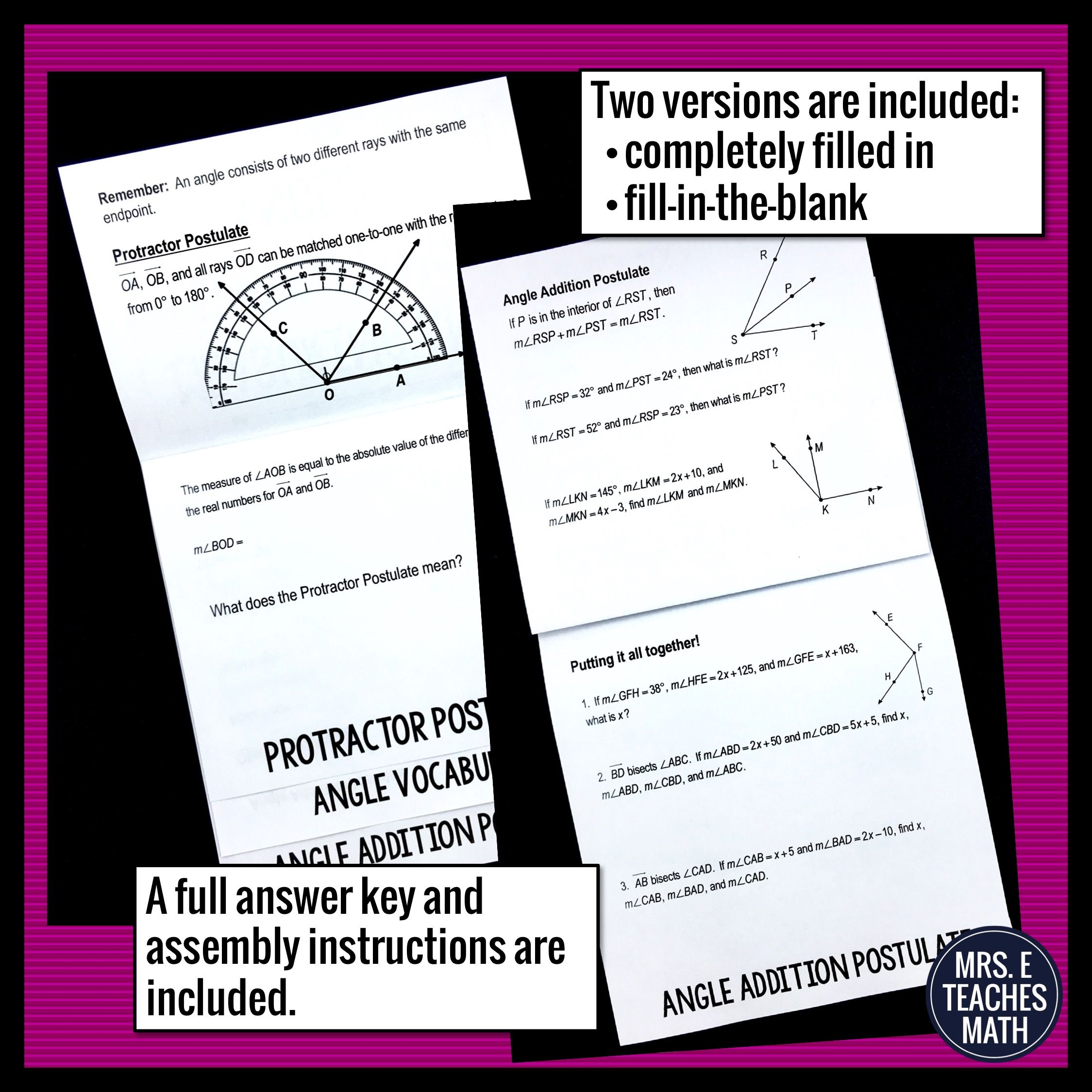 Protractor And Angle Addition Postulate Flipbook