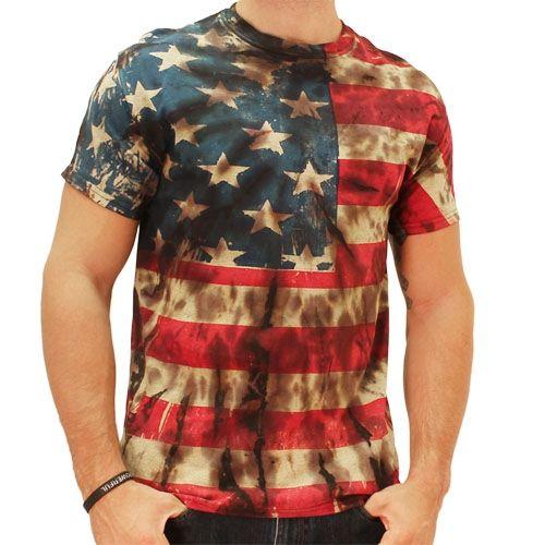 Mens Retro American Flag Tie Dye T Shirt
