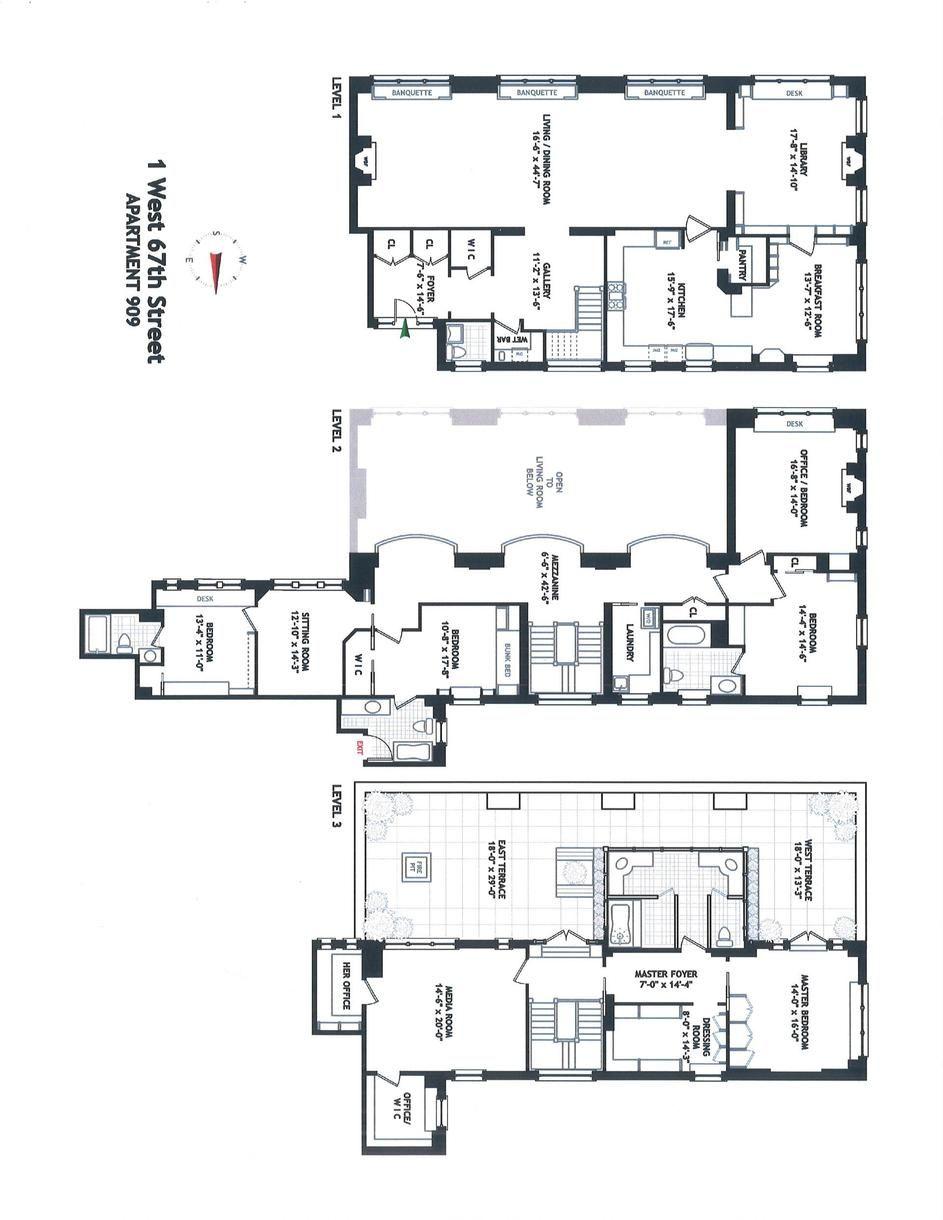 Hotel Des Artistes 1 West 67th St 909 Upper West Side New York Douglas Elliman City Living Apartment Plan Design Architect Drawing