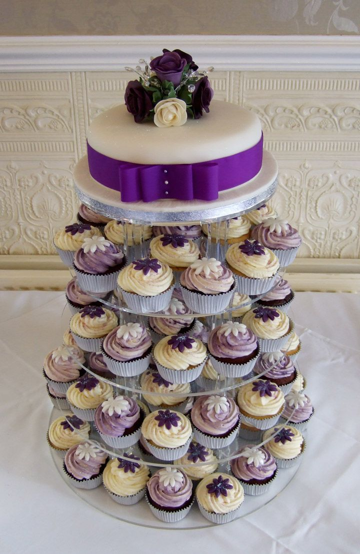 CupcakeWeddingCakes wedding cake and cupcakes combination from