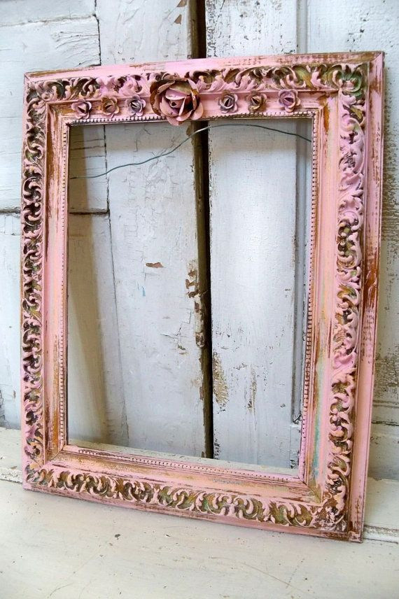 Pink distressed frame large wood gesso hand painted rusted rose ...