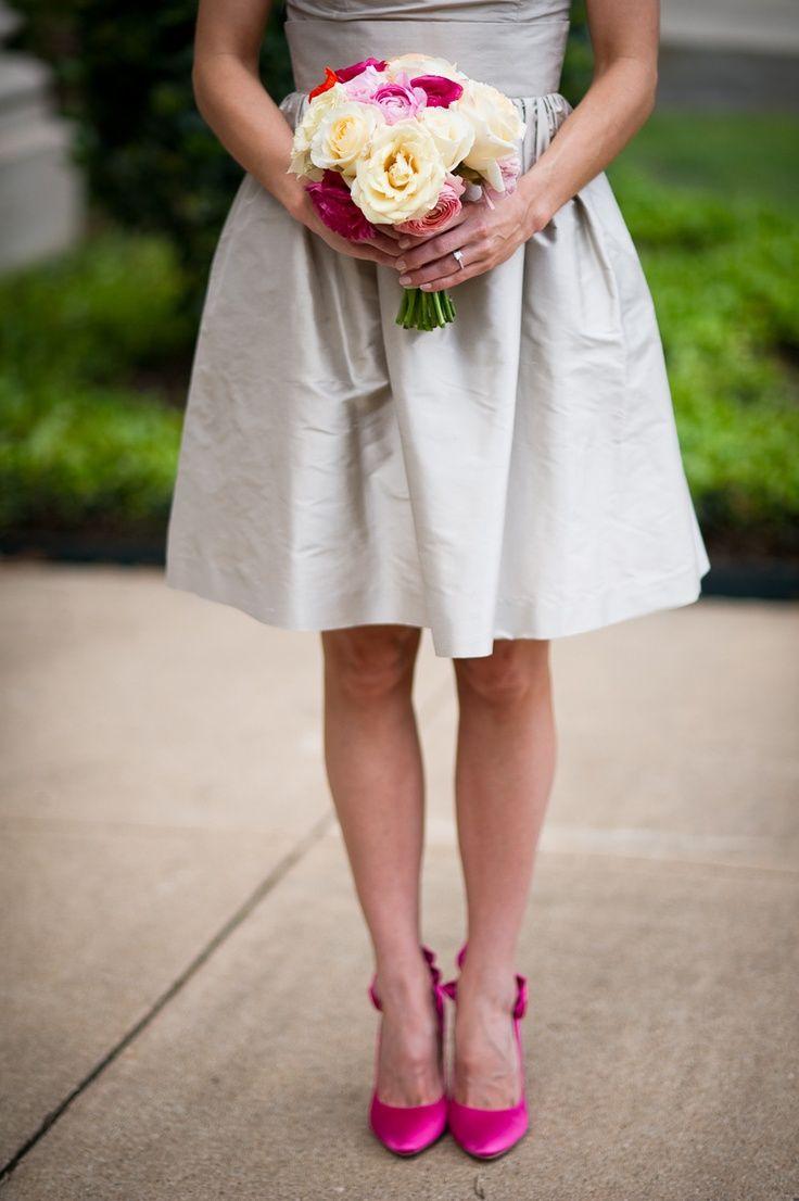 Hot Pink Shoes And Taupe Dresses Pink Heels Wedding Bright