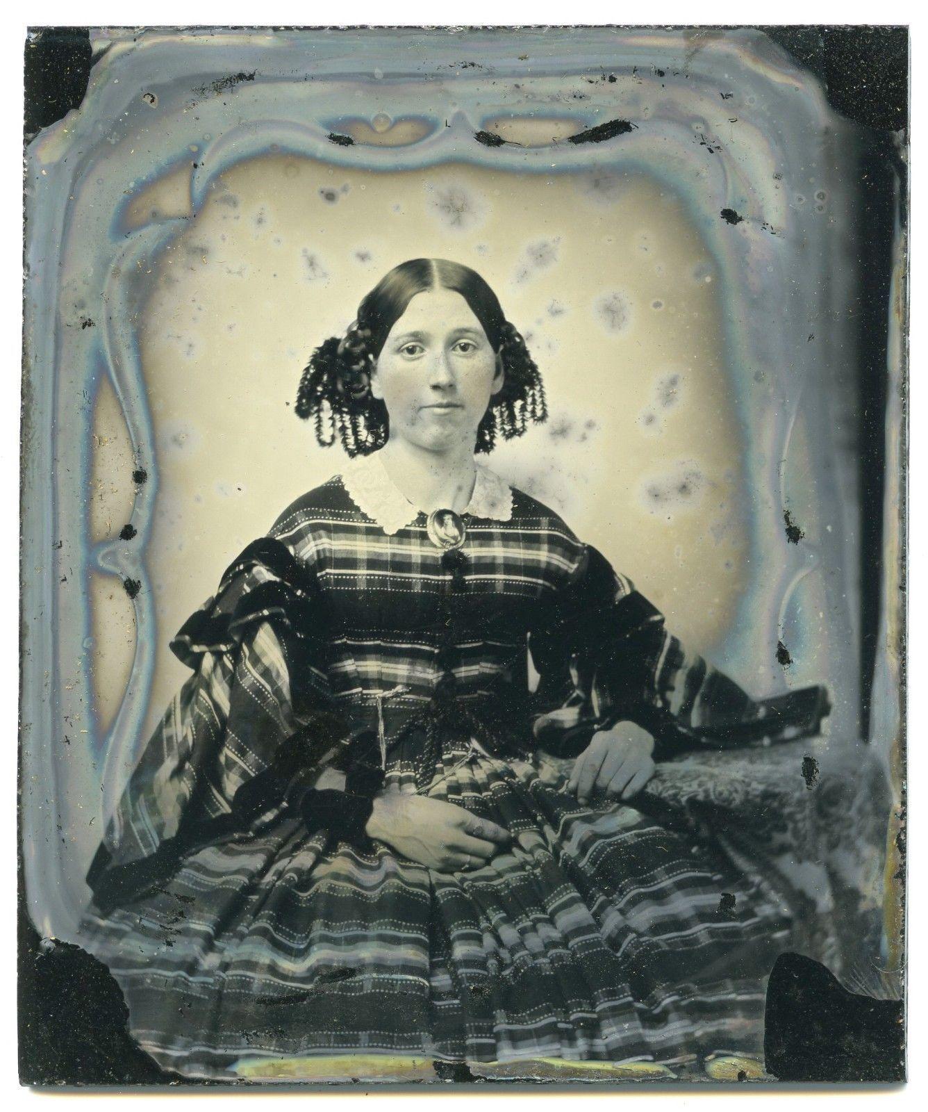 1 6 Plate Daguerreotype Girl w Minitaure Ivory Portrait Brooch Signed Willard | eBay