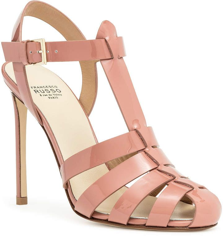 Smokey pink patent leather cage sandal   Patent leather