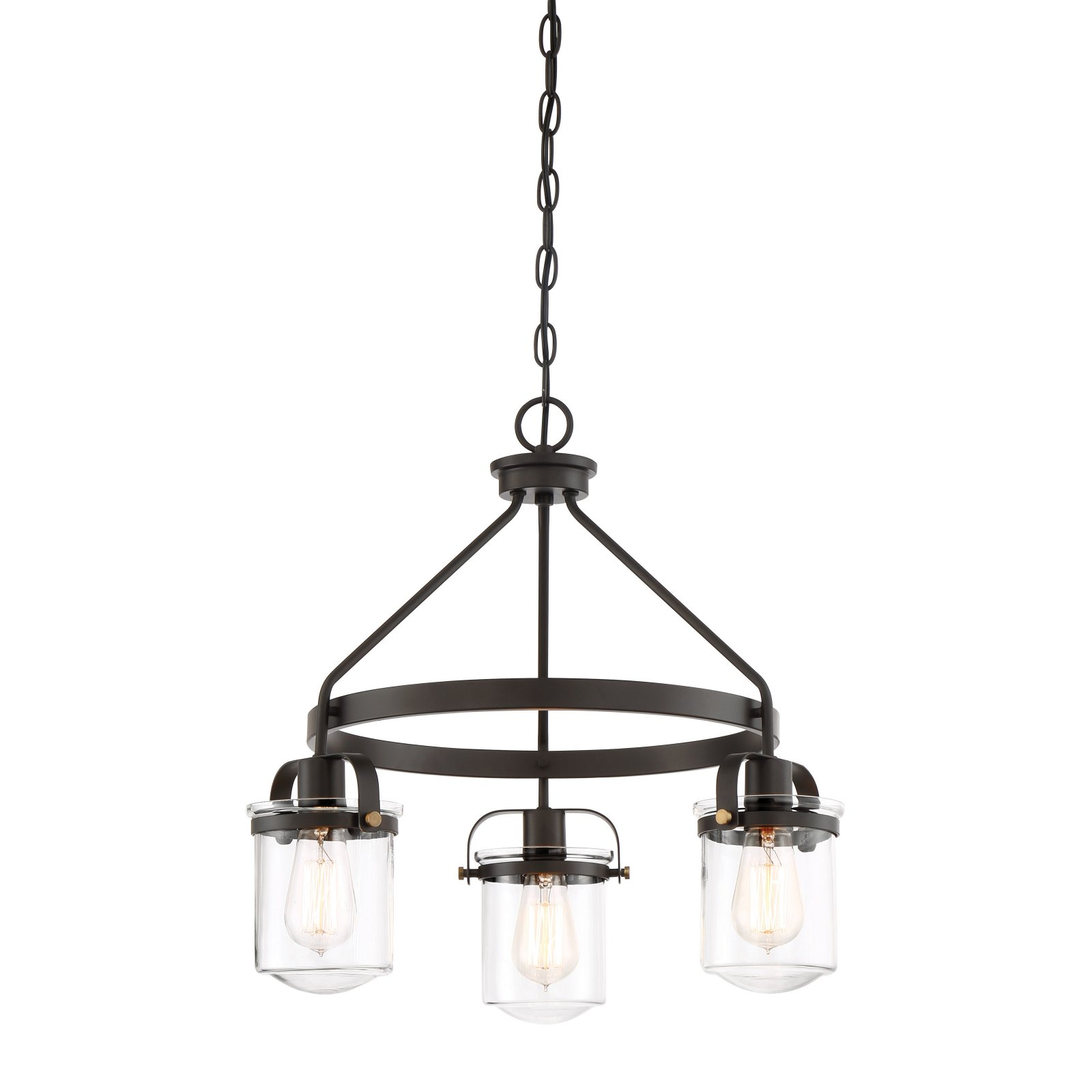 Chandelier Bronze White Frosted Glass Shade Durable Steel Indoor Use 3 Light