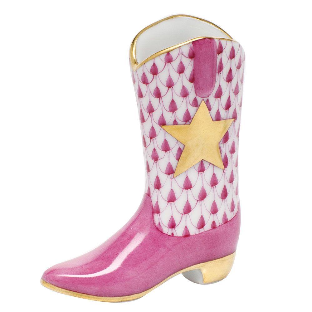"Herend Kangaroo Hand Painted Porcelain Figurine In Pink: Herend Hand Painted Porcelain Figurine ""Cowboy Boot"