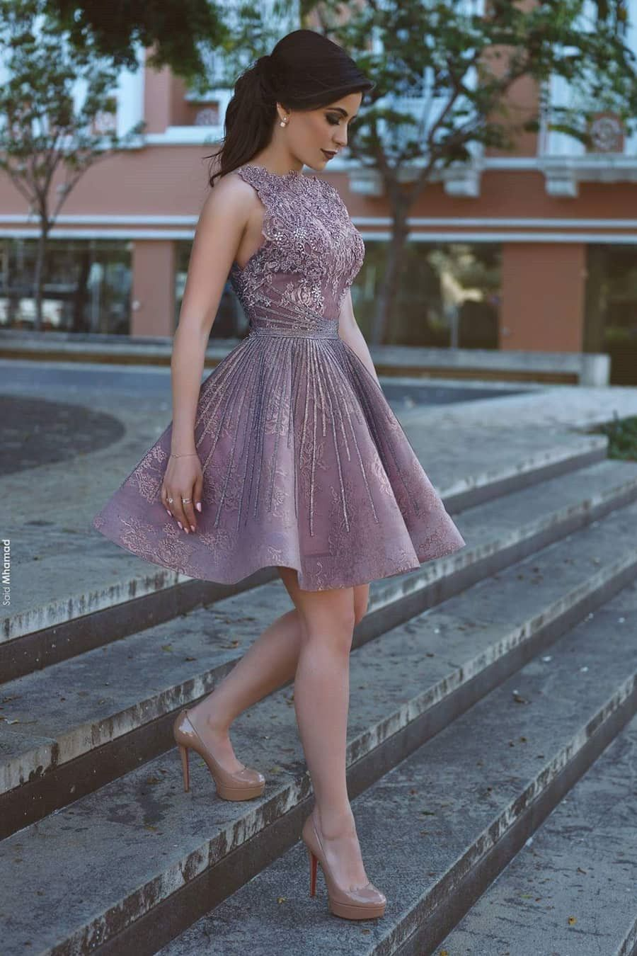 Aline bateau short lavender homecoming dress with appliques lace
