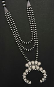 Wired Heart Silver Beaded Multi Strand with White Squash Blossom Pendant Necklace | Cavender's