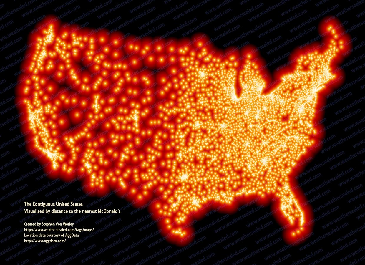 Map Of Mcdonald'S In The Us A data visualization of every McDonalds in the US. Please make it