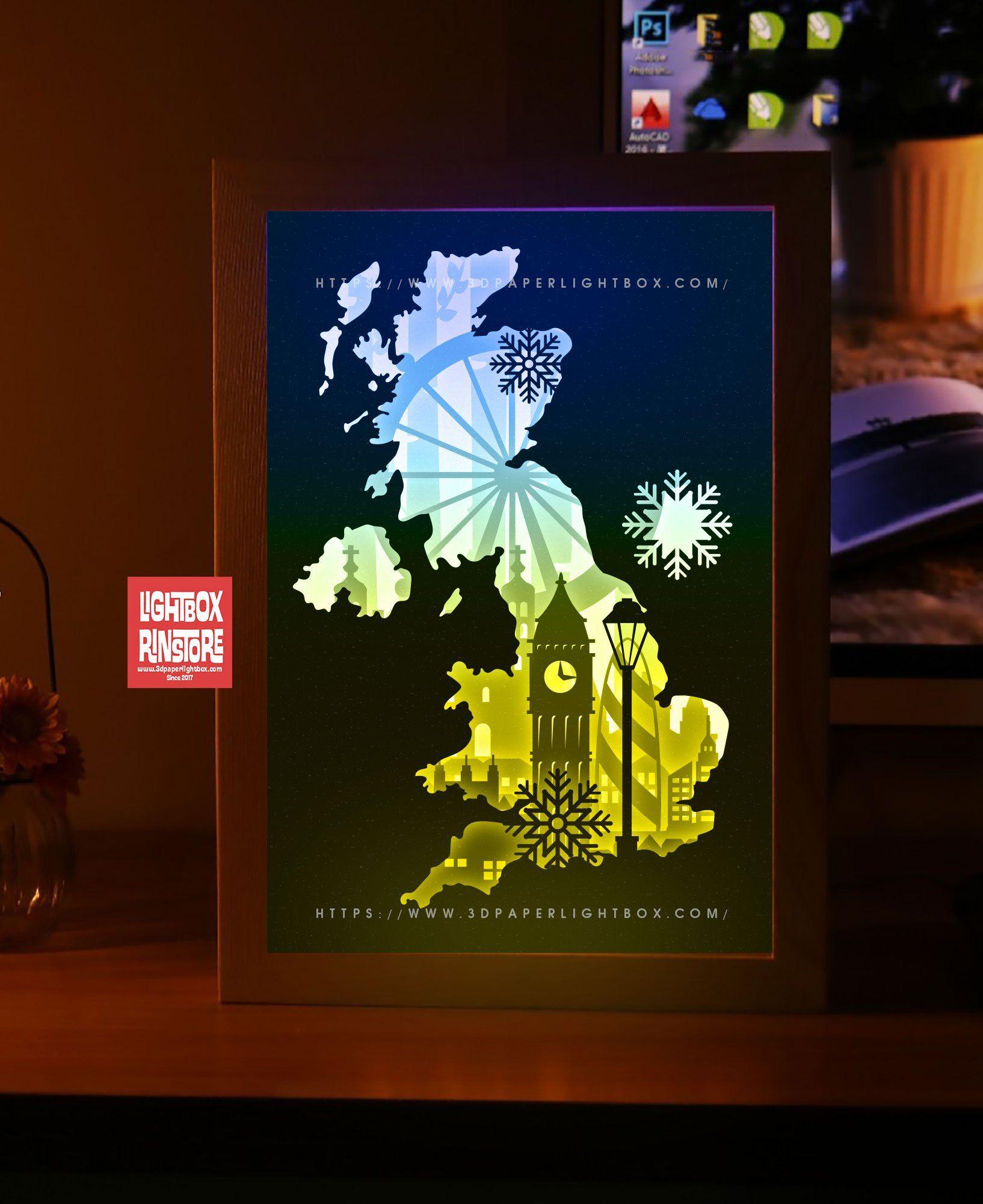 Bogo 185 london papercut lightbox 3d shadow box template