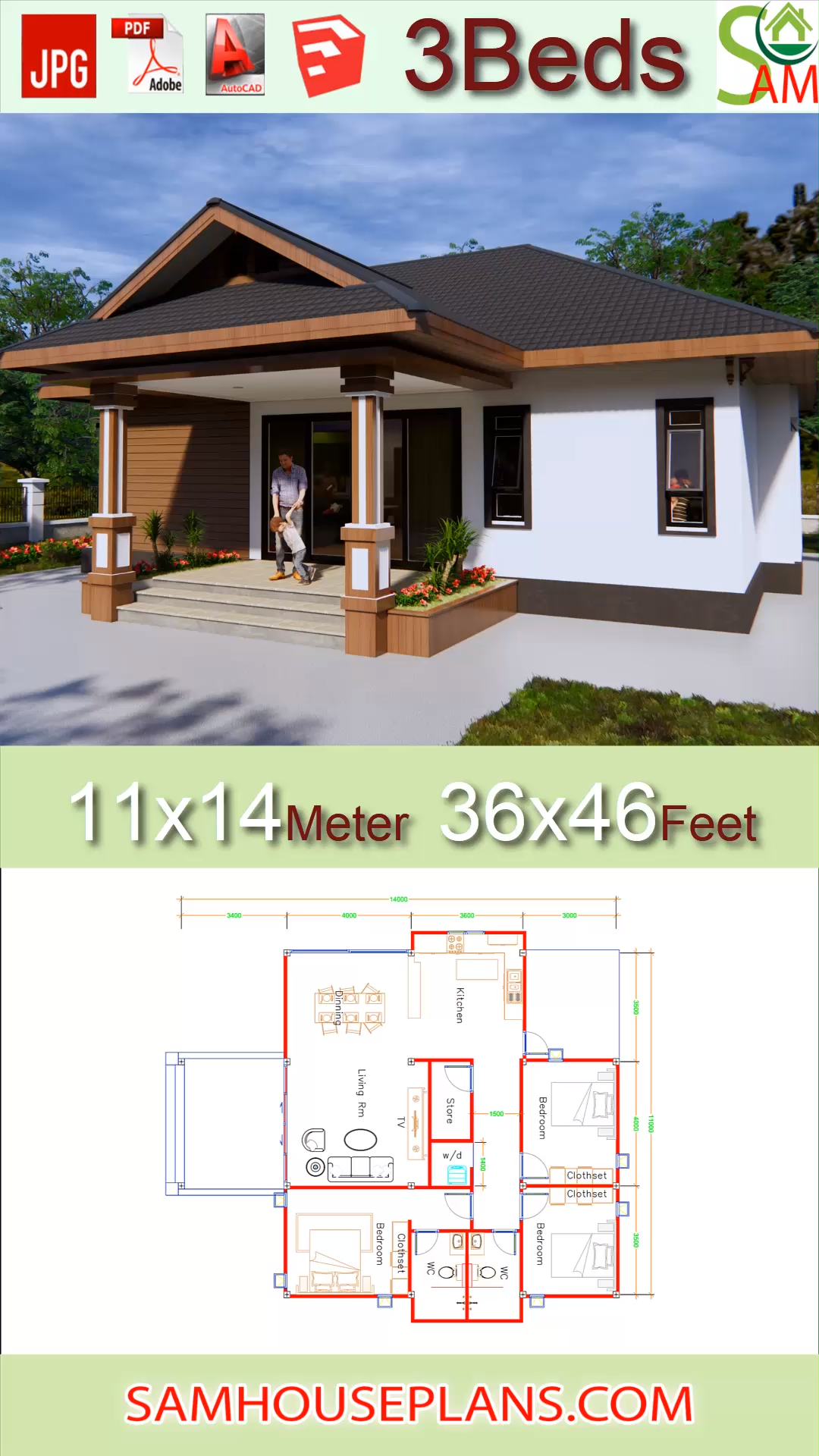 House Plans 11x14 With 3 Bedrooms Hip Roof 36x46 Feet Video In 2020 House Plans Bungalow Floor Plans Building Plans House