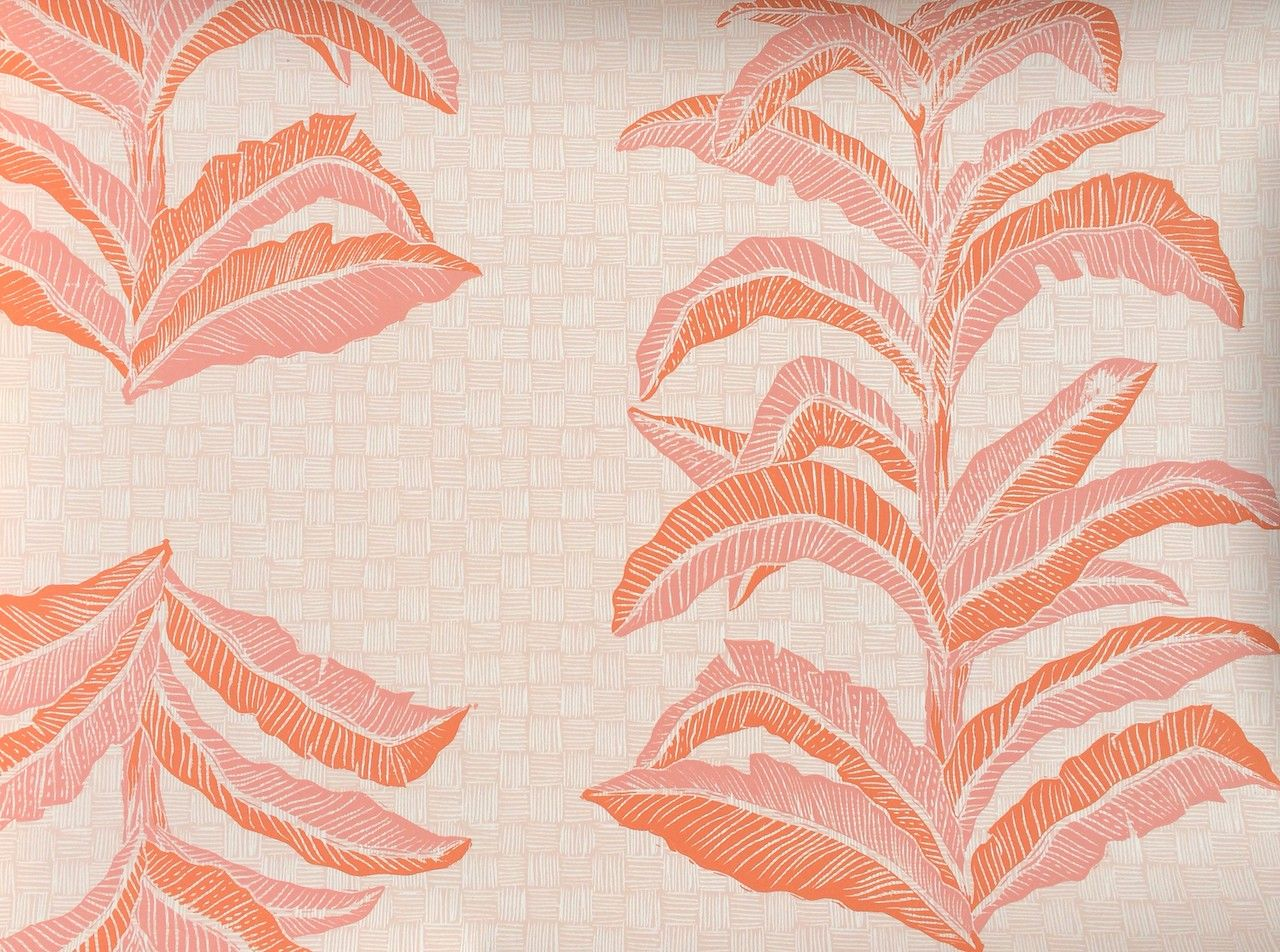 Krane wallpaper 'Banana Leaf in Coral Pink' at BRADLEY locations.