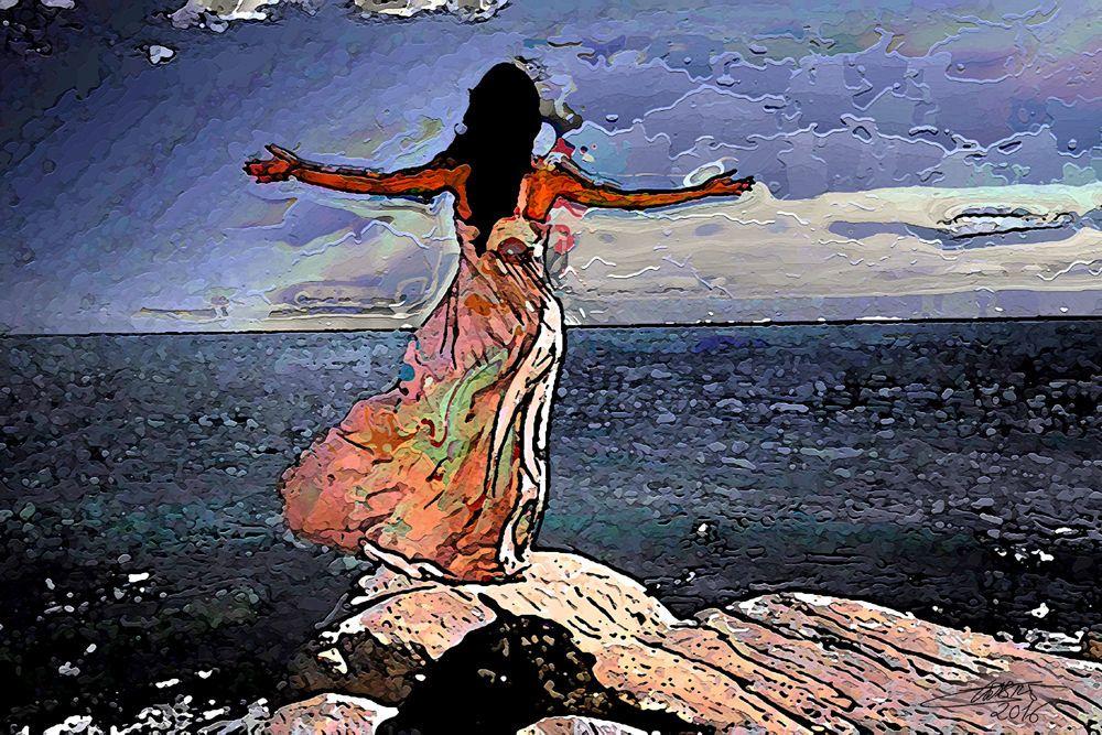 La mujer frente al mar - Pintura digital impresa sobre lienzo - 60x40cm - Luis Cebrián -2016