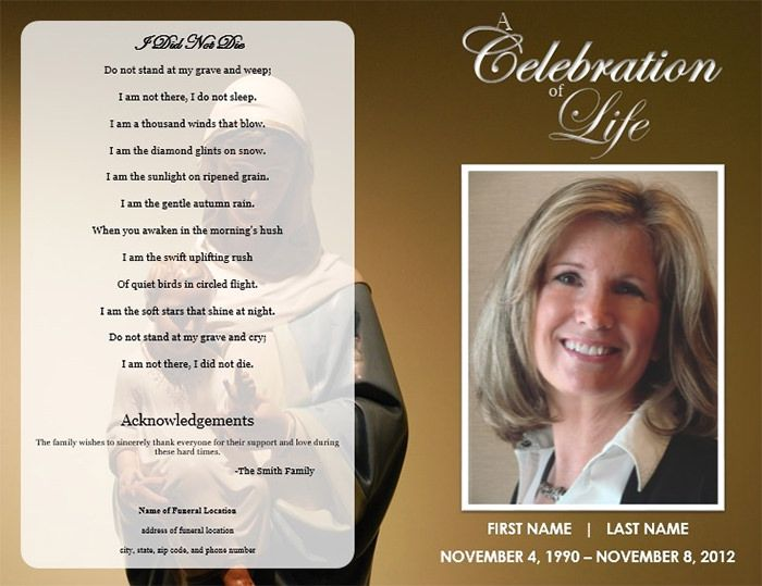 Image result for funeral program template lall Pinterest - free template for funeral program