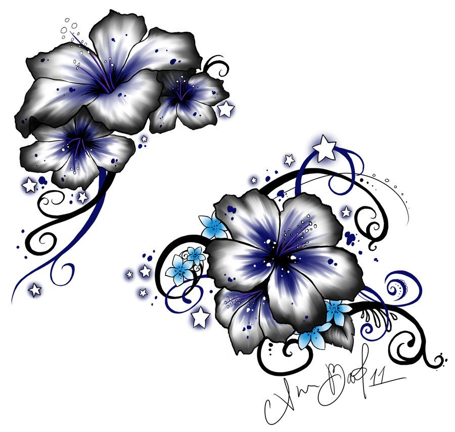 Hibiscus flowers and stars tattoo | New ink to cover up ...