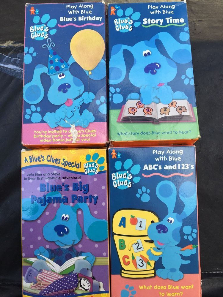 Lot Of 4 Blues Clues Vhs Tapes Story Time Birthday Pajama Party Abc