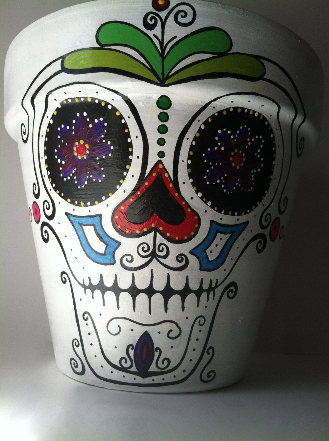 Day of the dead sugar skull hernando hand painted flower pot day of the dead 6 flower pot planter sugar skull catrina halloween decor succulent garden dailygadgetfo Choice Image