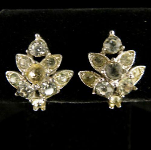 Bogoff Signed Earrings Vintage Silver Tone Rhinestones | eBay