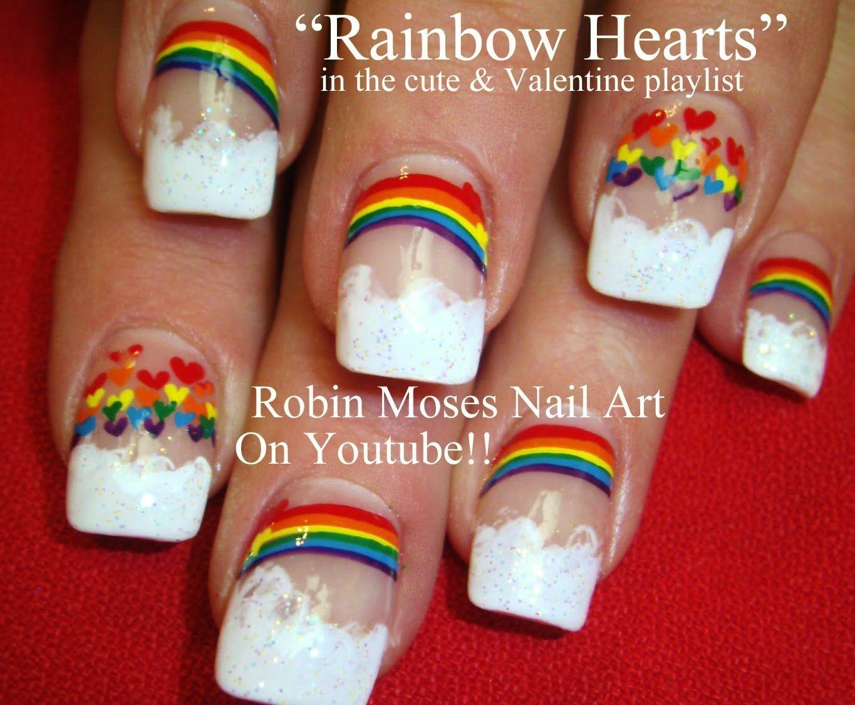 Easy Rainbow Hearts Nail Art by Robin Moses!! | robin moses nail art ...