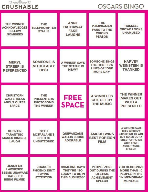Printable Oscar Bingo Cards, 2013 Academy Awards, Drinking Games