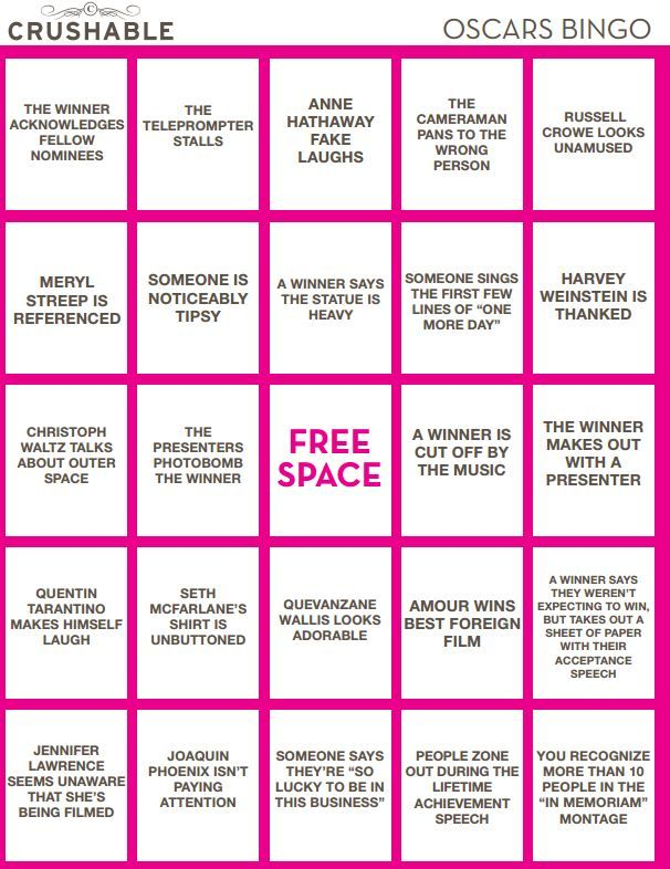 Printable Oscar Bingo Cards 2013 Academy Awards Drinking