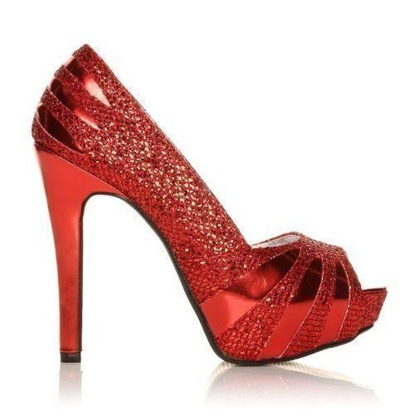 Damen Pumps Glitzer Hoher Absatz Party Schuhe Vorne Offen Rot