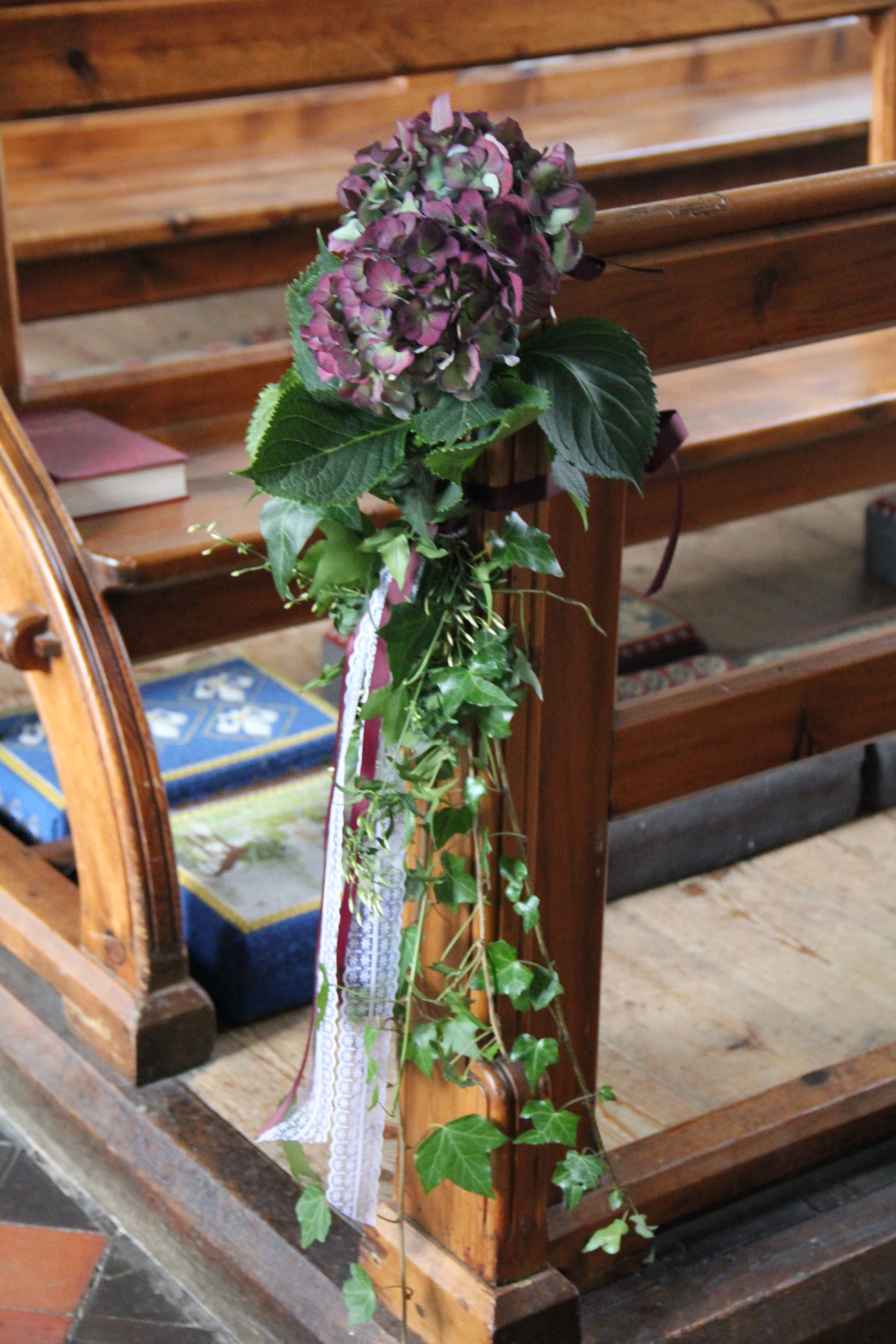 Hydrangea And Ivy Pew Ends Pew Ends Chair Backs