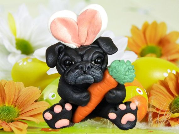 Black Pug Easter Bunny Dog With Carrot Ooak Clay Art Sculpture By