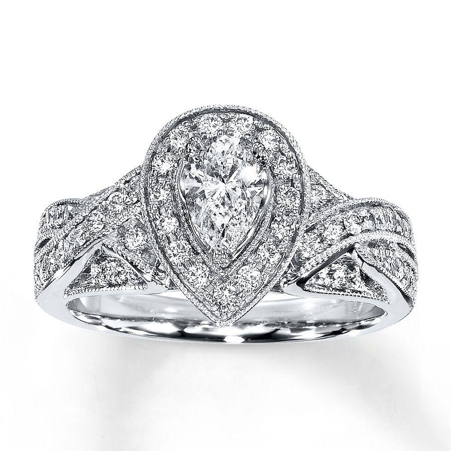 Kay Diamond Engagement Ring 1 ct tw Pearshape 14K White Gold