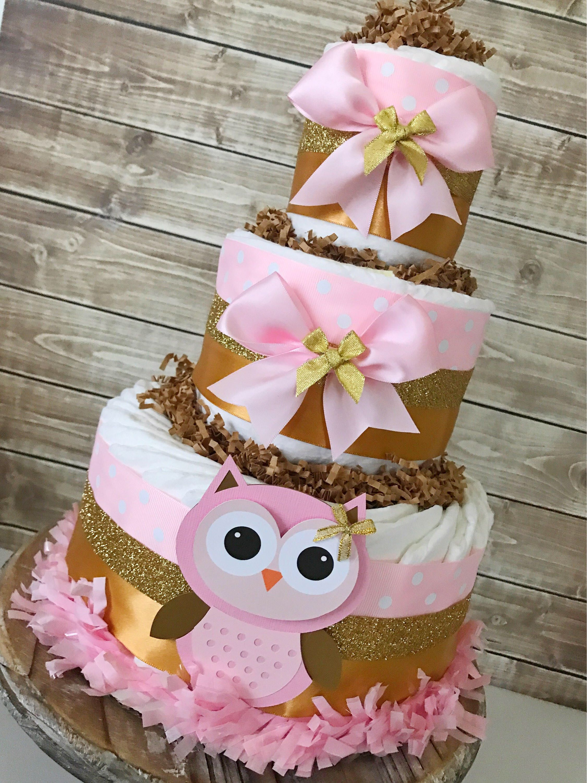 Owl Diaper Cake In Pink And Gold Owl Baby Shower Centerpiece