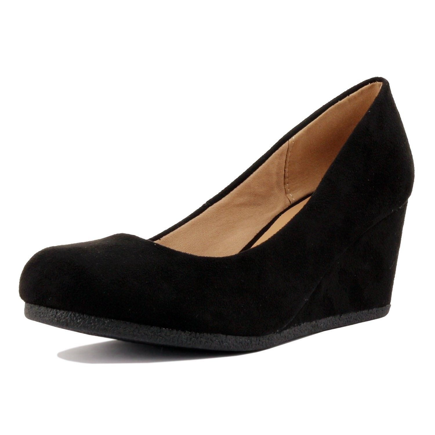 f96f85218 Women's Shoes, Pumps, Classic Office Wedge - Comfort Soft Mid Low Heel  Round Toe Wedge Pumps - Black Suede - C01868CNGGM #Shoes #Pumps #fashion # women # ...