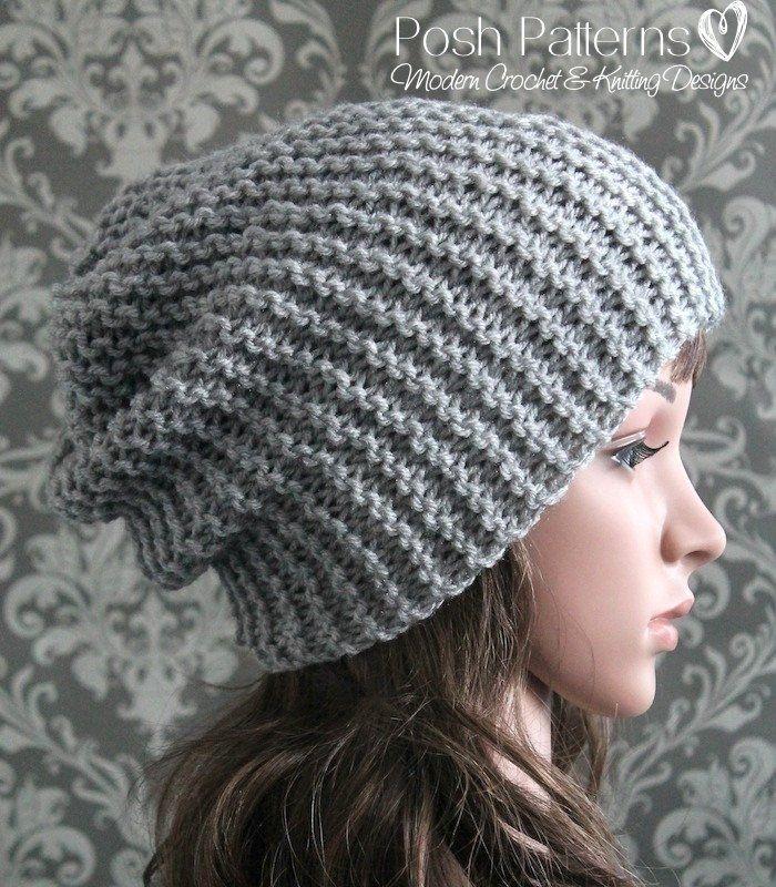 Knitting PATTERN - Easy Beginner Knit Slouchy Hat Pattern   Gorros ...