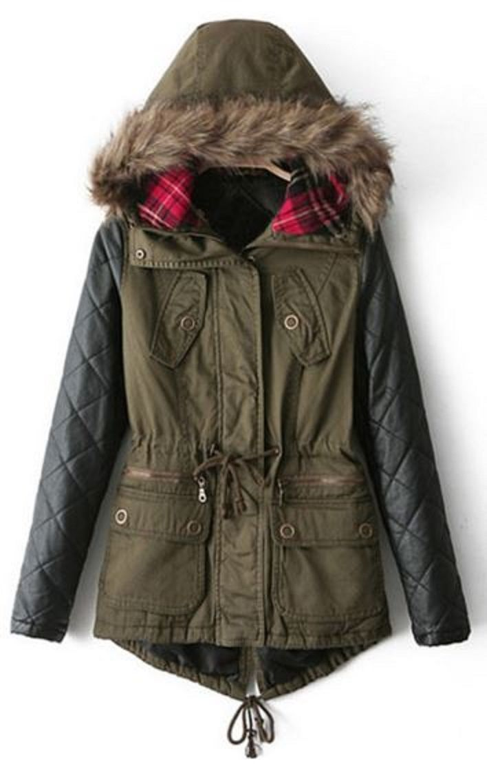 Womens Parka Coat With Leather Sleeves